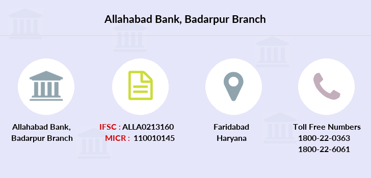 ALLAHABAD BANK Branches, Faridabad, Haryana, Find IFSC, MICR Codes, Address, All Bank Branches in India, for NEFT, RTGS, ECS Transactions