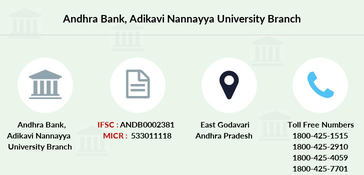 Andhra Bank Adikavi Nannayya University Ifsc Code Andb0002381