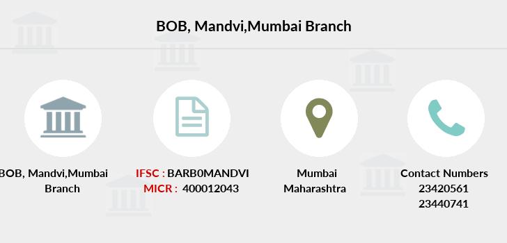 bank of baroda mandvi branch mumbai ifsc code