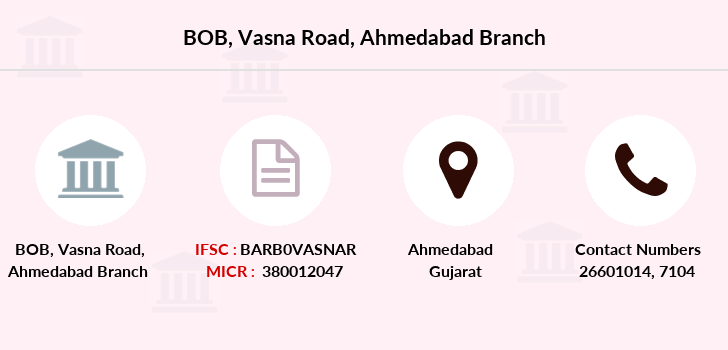 bank of baroda vasna branch ahmedabad ifsc code