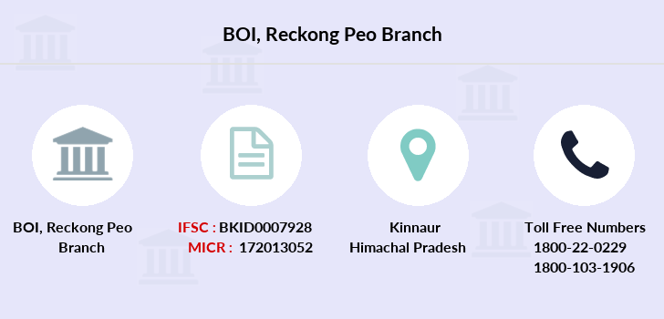 Bank-of-india Reckong-peo branch