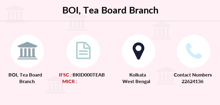 BOI Tea Board IFSC Code BKID000TEAB