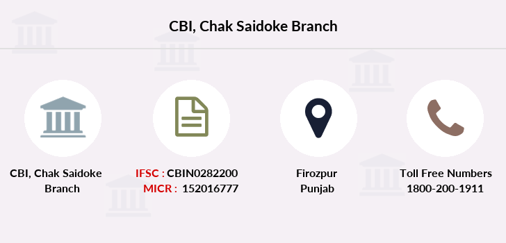 Central-bank-of-india Chak-saidoke branch