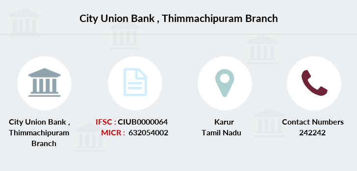 City-union-bank Thimmachipuram branch