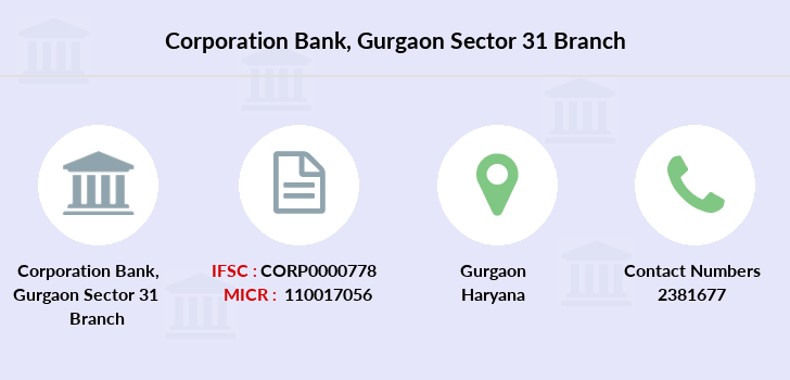 Corporation-bank Gurgaon-sector-31 branch
