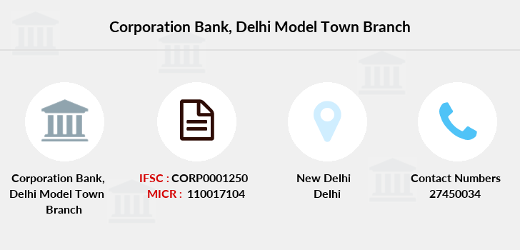 Corporation-bank Delhi-model-town branch