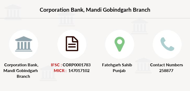 Corporation Bank Mandi Gobindgarh IFSC Code CORP0001783