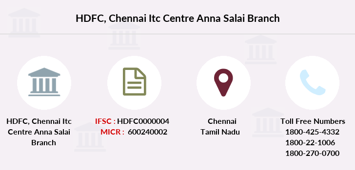 Hdfc-bank Chennai-itc-centre-anna-salai branch