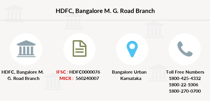 Hdfc-bank Bangalore-m-g-road branch