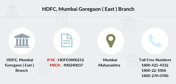 Hdfc-bank Mumbai-goregaon-east branch