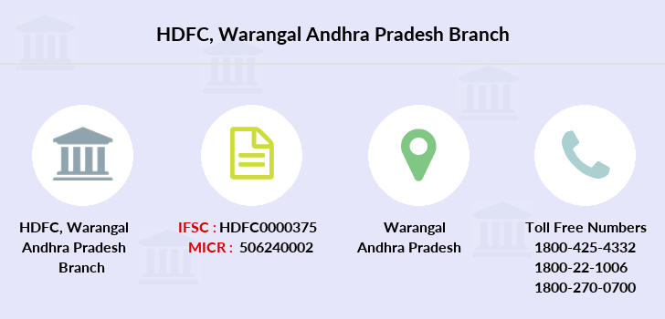 Hdfc-bank Warangal-andhra-pradesh branch