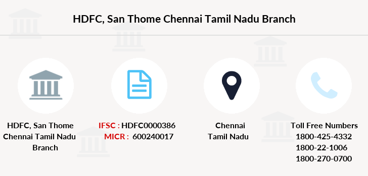 Hdfc-bank San-thome-chennai-tamil-nadu branch