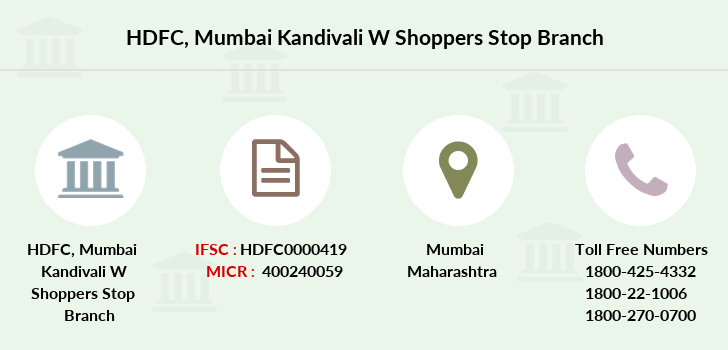 Hdfc-bank Mumbai-kandivali-w-shoppers-stop branch