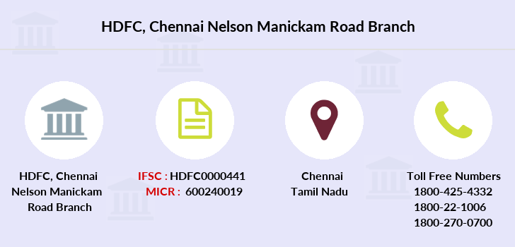 Hdfc-bank Chennai-nelson-manickam-road branch