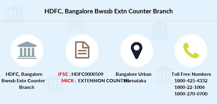 Hdfc-bank Bangalore-bwssb-extn-counter branch