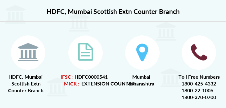 Hdfc-bank Mumbai-scottish-extn-counter branch
