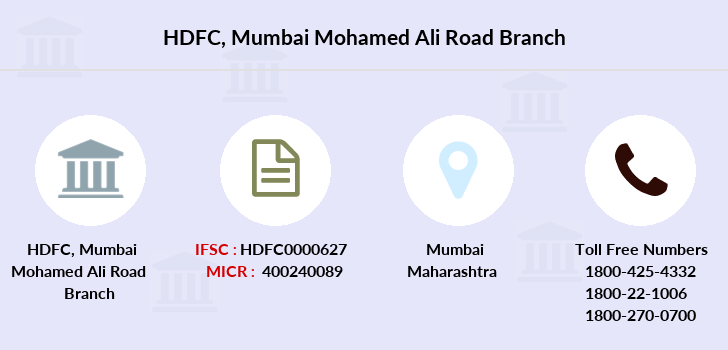 Hdfc-bank Mumbai-mohamed-ali-road branch