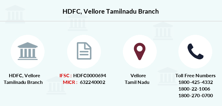 Hdfc-bank Vellore-tamilnadu branch