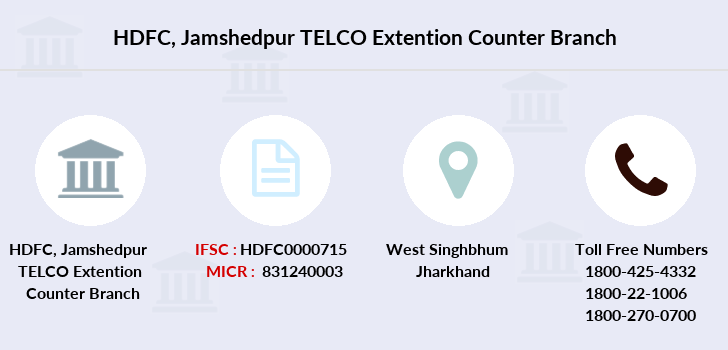 Hdfc-bank Jamshedpur-telco-extention-counter branch