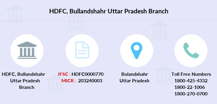 Hdfc-bank Bullandshahr-uttar-pradesh branch