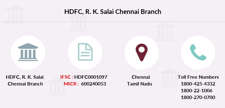 Hdfc-bank R-k-salai-chennai branch