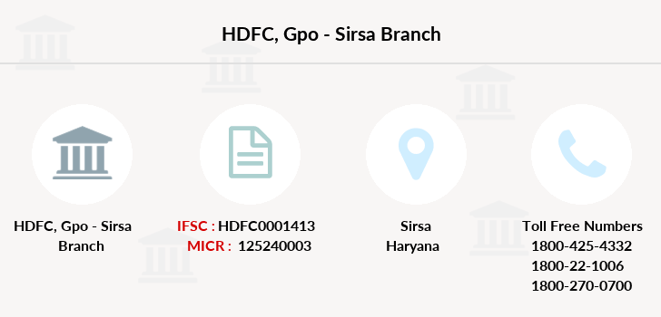 Hdfc-bank Gpo-sirsa branch