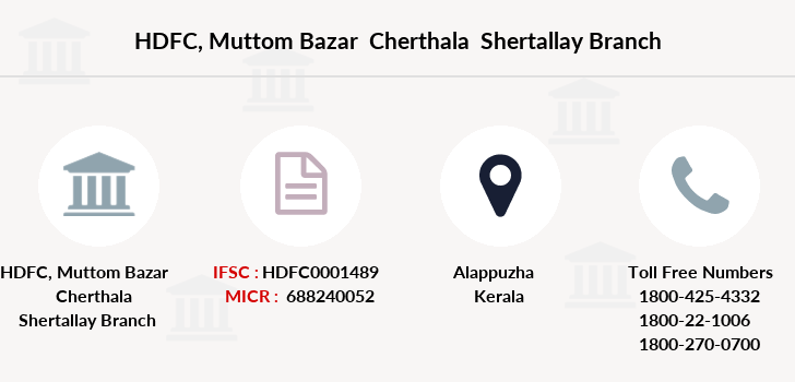 Hdfc-bank Muttom-bazar-cherthala-shertallay branch