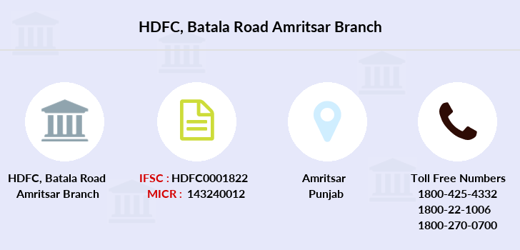 Hdfc-bank Batala-road-amritsar branch