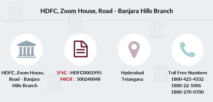 Hdfc-bank Zoom-house-road-banjara-hills branch