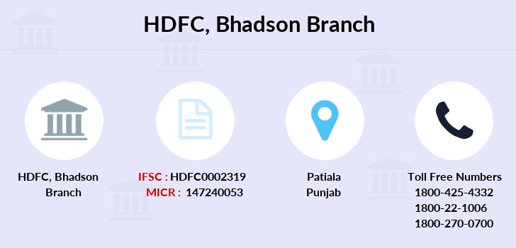 Hdfc-bank Bhadson branch