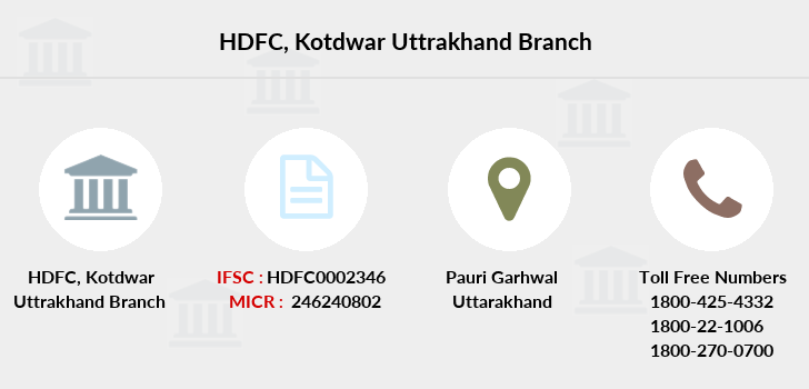 Hdfc-bank Kotdwar-uttrakhand branch
