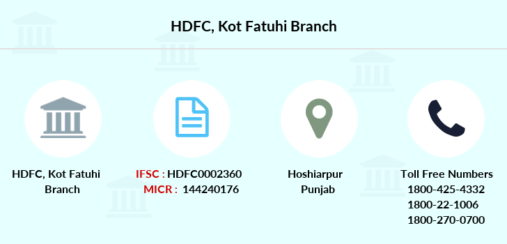 Hdfc-bank Kot-fatuhi branch
