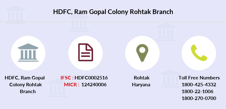 Hdfc-bank Ram-gopal-colony-rohtak branch