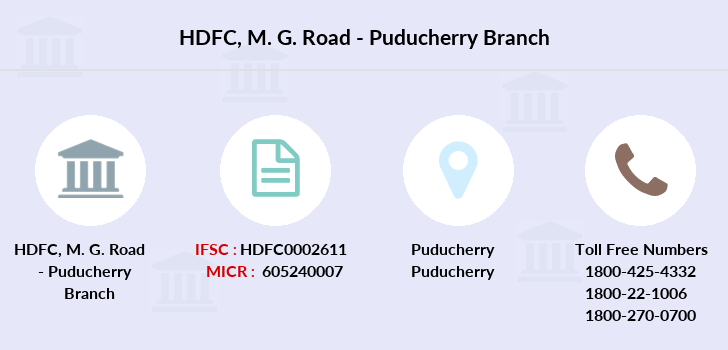 Hdfc-bank M-g-road-puducherry branch