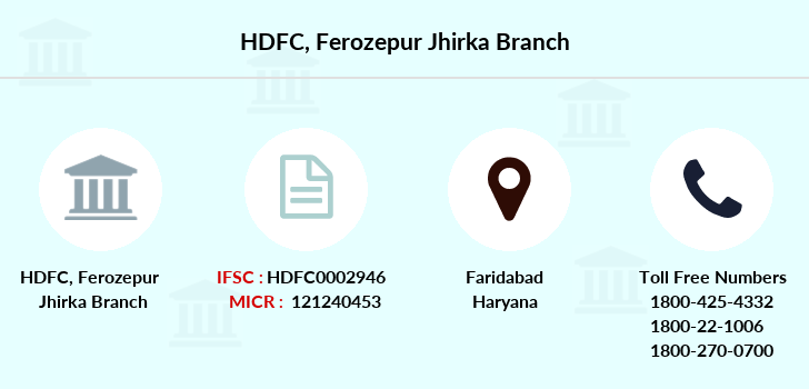 Hdfc-bank Ferozepur-jhirka branch
