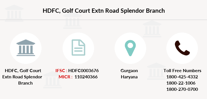 Hdfc-bank Golf-court-extn-road-splendor branch