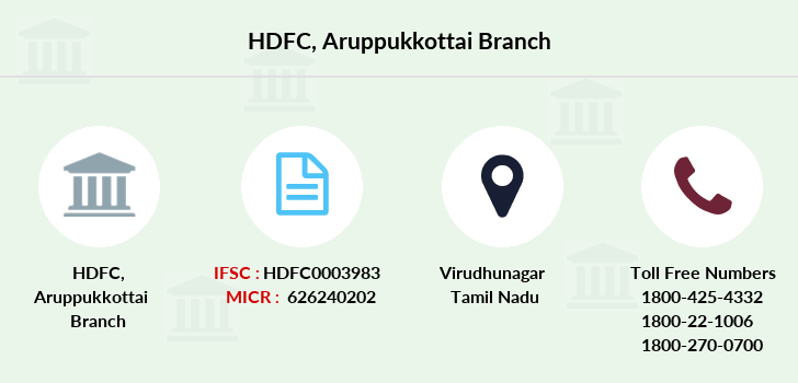 Hdfc-bank Aruppukottai branch