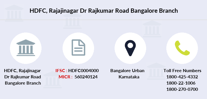 Hdfc-bank Rajajinagar-dr-rajkumar-road-bangalore branch