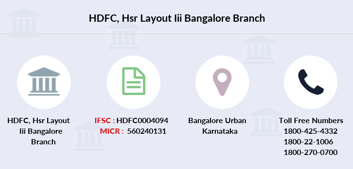 Hdfc-bank Hsr-layout-iii-bangalore branch