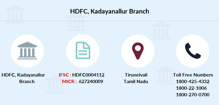 Hdfc-bank Kadayanallur branch