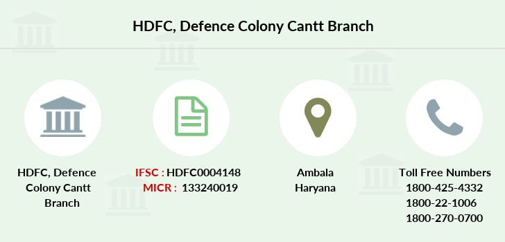 Hdfc-bank Defence-colony-cantt branch