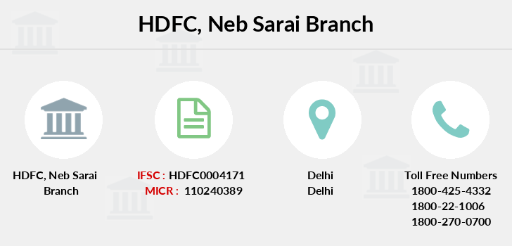 Hdfc-bank Neb-sarai branch