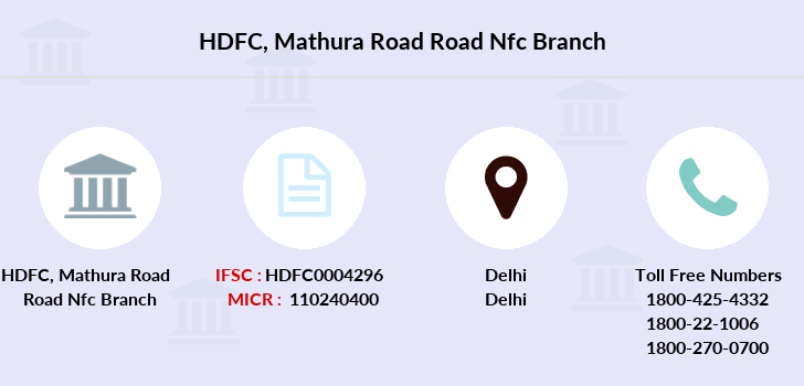 Hdfc-bank Mathura-road-road-nfc branch
