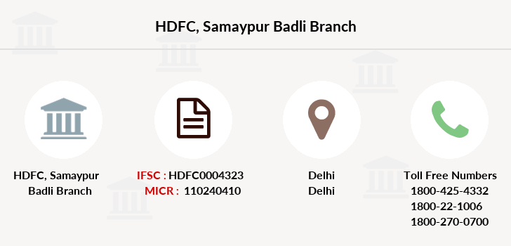Hdfc-bank Samaypur-badli branch