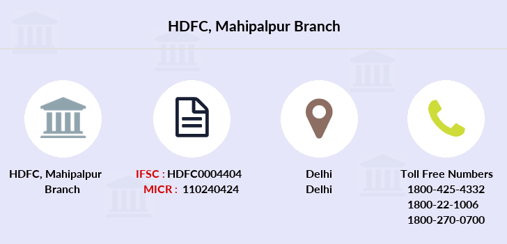 Hdfc-bank Mahipalpur branch