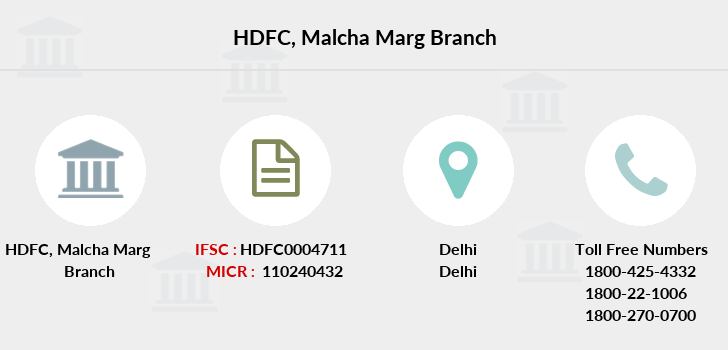Hdfc-bank Malcha-marg branch