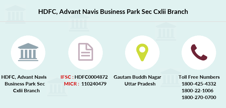 Hdfc-bank Advant-navis-business-park-sec-cxlii branch