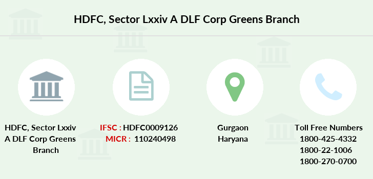 Hdfc-bank Sector-lxxiv-a-dlf-corp-greens branch