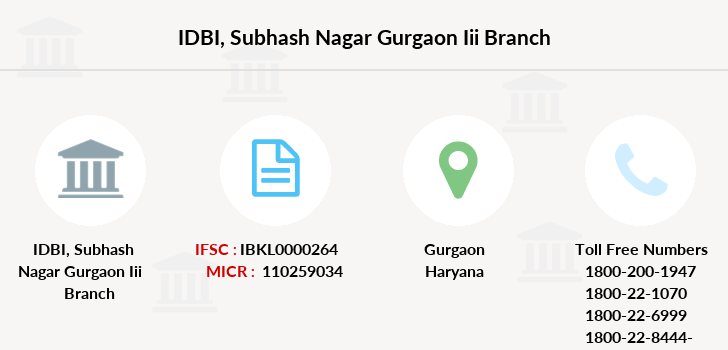 Idbi-bank Subhash-nagar-gurgaon-iii branch