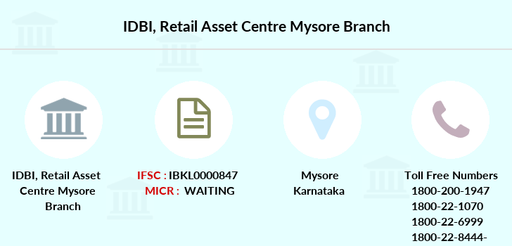 Idbi-bank Retail-asset-centre-mysore branch